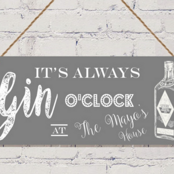 Personalised Gin o'clock sign Gift