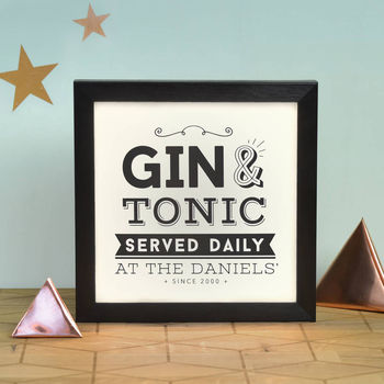 Personalised Gin Served Here Daily Light Box